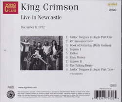 KING CRIMSON/Live In Newcastle: December 8. 1972 (1972/Live) (キング・クリムゾン/UK)