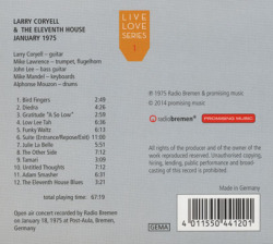 LARRY CORYELL & THE ELEVENTH HOUSE/January 1975: LiveLove Series 1 (1975/Live) (ラリー・コリエル&ジ・イレヴンス・ハウス/USA)