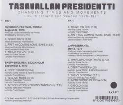 TASAVALLAN PRESIDENTTI/Changing Times And Movements(2CD) (1970-71/Live) (タサヴァラン・プレジデンティ/Finland)